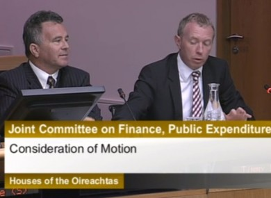 TDs Sean Fleming and Timmy Dooley at the committee meeting this morning.