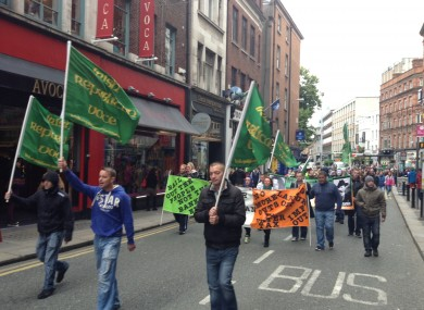 An impromptu march took place from Kildare street.