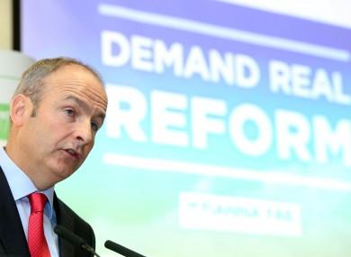 Micheál Martin at Fianna Fáil's campaign launch in Dublin this morning