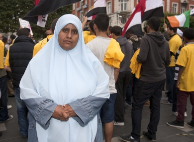 Nosayba Halawa protests with members of The Egyptian Irish Anti-Coup Forum on O'Connell Street on Friday.