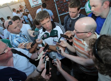 Kieran McGeeney was not giving too much away to this media huddle after Tyrone beat Kildare in July.