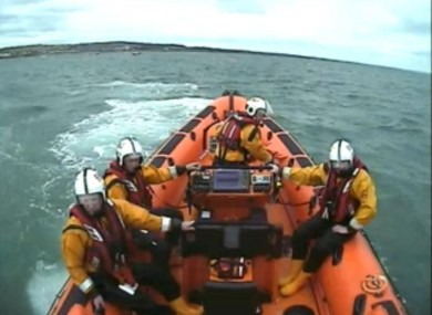 Skerries RNLI during the search for the divers.