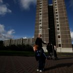 Donna Freeman and her son Luke (2 years old) outside the Joseph Plunkett tower (Image: Brian Lawless/PA Wire)<span class=