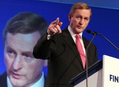 Enda Kenny addressing delegates in Limerick last night