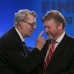 Con McCarthy from East Cork pictured talking to Minister for Health James Reilly <span class=