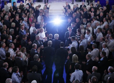 US President Bill Clinton arrives at the 2011 Global Irish Economic Forum.