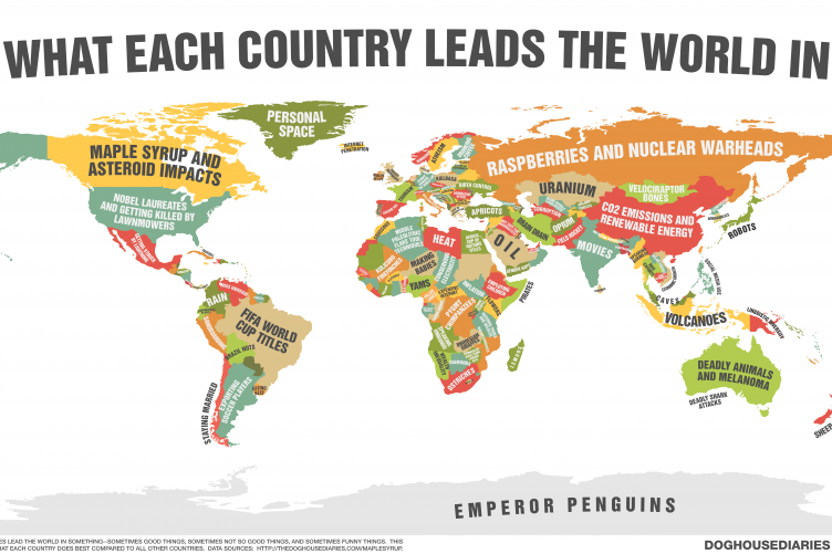 Map Shows What Every Country Is The World Leader In What About