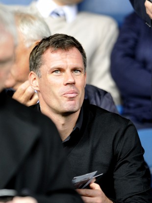 Jamie Carragher pictured in the stands during a recent Liverpool game.