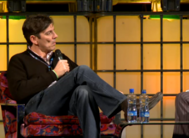 Tim Armstrong being interviewed at today's Web Summit in Dublin's RDS.