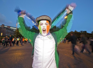 Ireland fan William Oxley from Portlaoise, Co. Laois, gets behind the Boys in Green.