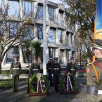 Members of the Defence Forces pictured at a wreath laying ceremony at the US Embassy in Dublin <span class=