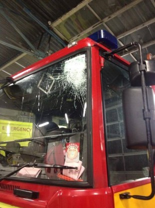 Fire engine damaged in last night's attack.