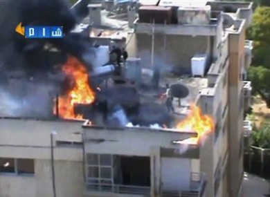 Authenticated image taken from video obtained from the Shaam News Network.