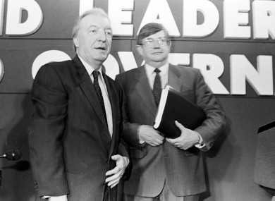 Charlie Haughey and Ray Burke were among those who had safes in their homes in the early 80s. Here they are pictured in 1989.