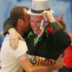 Bart Ratcliffe (in hat) welcome home his brother from New Zealand for Christmas<span class=