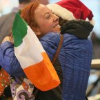 June Clarke from Dundalk (left) is welcomed home from San Diageo for Christmas by her nan Mary<span class=