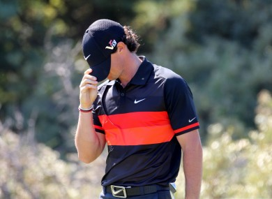 Rory McIlroy reacts to a poor shot during his second round at The Open.