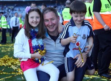 Gavin celebrates Dublin's All-Ireland win with his children Yasmin and Jude.