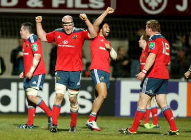 Paul O'Connell and his teammates celebrate the win away to Perpignan.