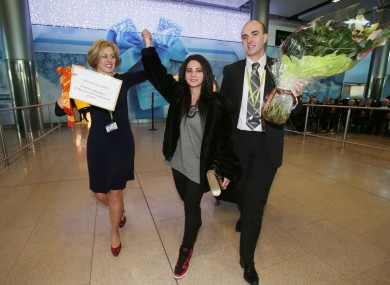 Roma Chang gets a massive welcome at Dublin Airport today