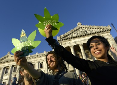 Activists in support of cannabis trade legalisation outside the Uruguay Congress building this morning.
