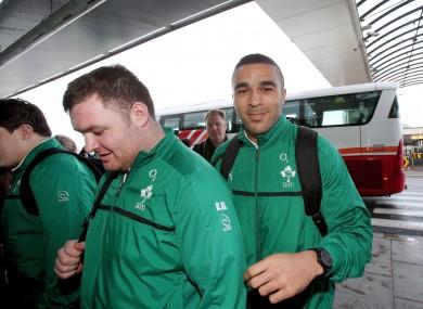 Simon Zebo follows Dave Kilcoyne into the airport.