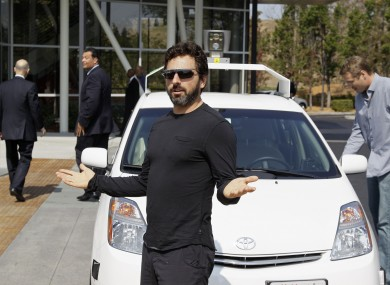 Google co-founder Sergey Brin after riding one of the company's driverless cars.