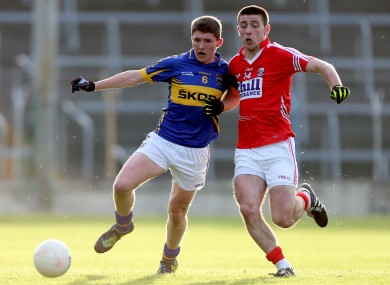 Michael Cahalane (right) in action for the Cork minor footballers last year.