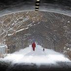 Naoom Haimson walks his dog, Molly, on the snow covered Monon Trail in Carmel, Indiana.<span class=