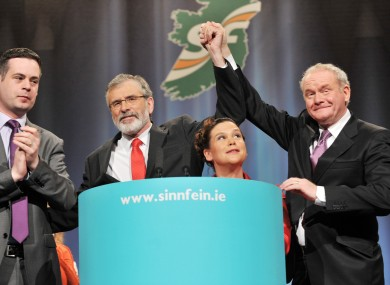 Pearse Doherty, Gerry Adams, Mary Lou McDonald and Martin McGuinness at last year's Ard Fheis.
