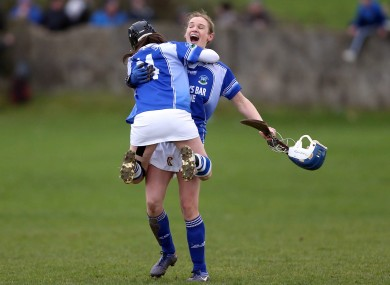 Edel Holland and Keelin O'Shaughnessy of Ardrahan celebrate at the end of the game/