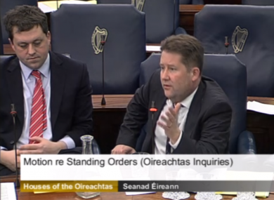 Fianna Fáil's Thomas Byrne and Darragh O'Brien in the Seanad this afternoon