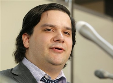 MtGox CEO Mark KArpeles speaking at a press conference at the Justice Ministry in Tokyo.