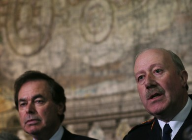Fine Gael Minister for Justice Alan Shatter and Garda Commissioner Martin Callinan at the publication of the Smithwick tribunal last year.