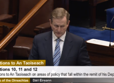 Enda Kenny speaking in the Dáil this afternoon