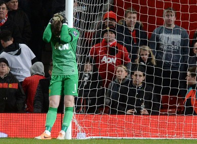 Manchester United's David De Gea shows his dejection during the Barclays Premier League match at Old Trafford.