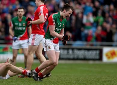 Cillian O'Connor celebrates scoring a goal for Mayo.