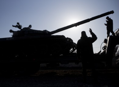 Officers at a Russian tank near Simferopol, Crimea