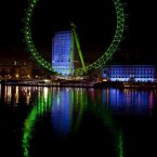 The iconic London Eye goes green.<span class=