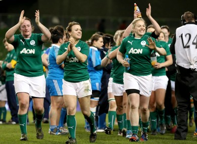Ireland's Lynne Cantwell and Niamh Briggs celebrate after the game.