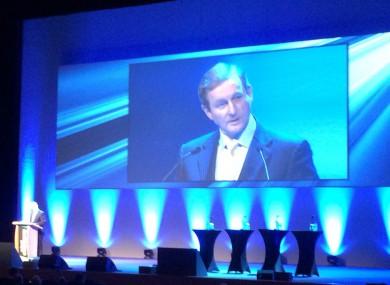 Taoiseach Enda Kenny speaking this afternoon.