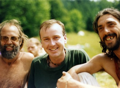 A young John Whelan with two unidentified men at a Rainbow Gathering in the 90s.