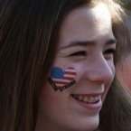 Sophie Ordman, of Calgary, Alberta, awaits the start of the 118th Boston Marathon<span class=
