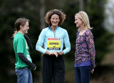 Fionnula Britton, Sonia O'Sullivan and Catherina McKiernan in Dublin this afternoon.