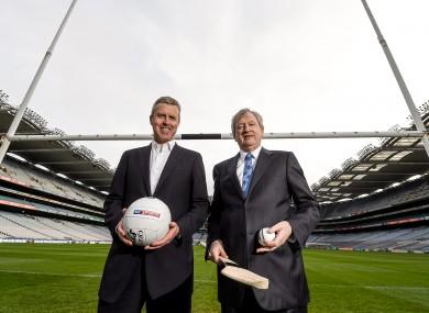 GAA director general Páraic Duffy, right, and JD Buckley, managing director of Sky Ireland at Croke Park.