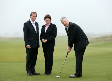 George O'Grady, Chief Executive of the European Tour, Arlene Foster, MLA, Minister of Enterprise Trade and Investment, and Peter Robinson, MLA, First Minister at Royal County Down yesterday.