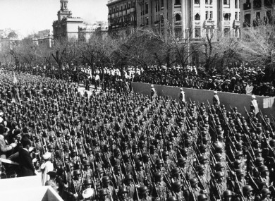 Spain's infantry units march down the Castellana in Madrid in 1943.