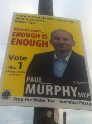 A Paul Murphy election poster photographed in Ballinteer