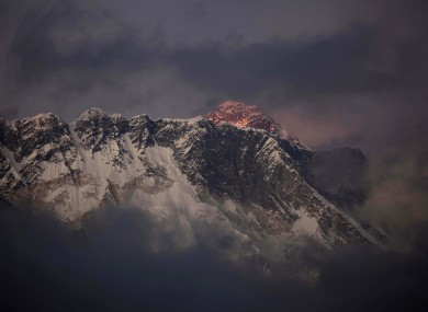 The last light of the day lands on the tip of Everest, seen in the background here.