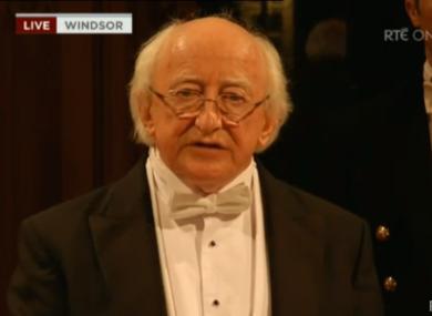 Michael D Higgins address guests this evening.
